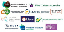a jumble of logos from national disability peak bodies